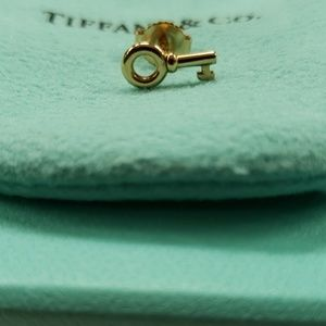 Authentic Tiffany Rose gold key earring